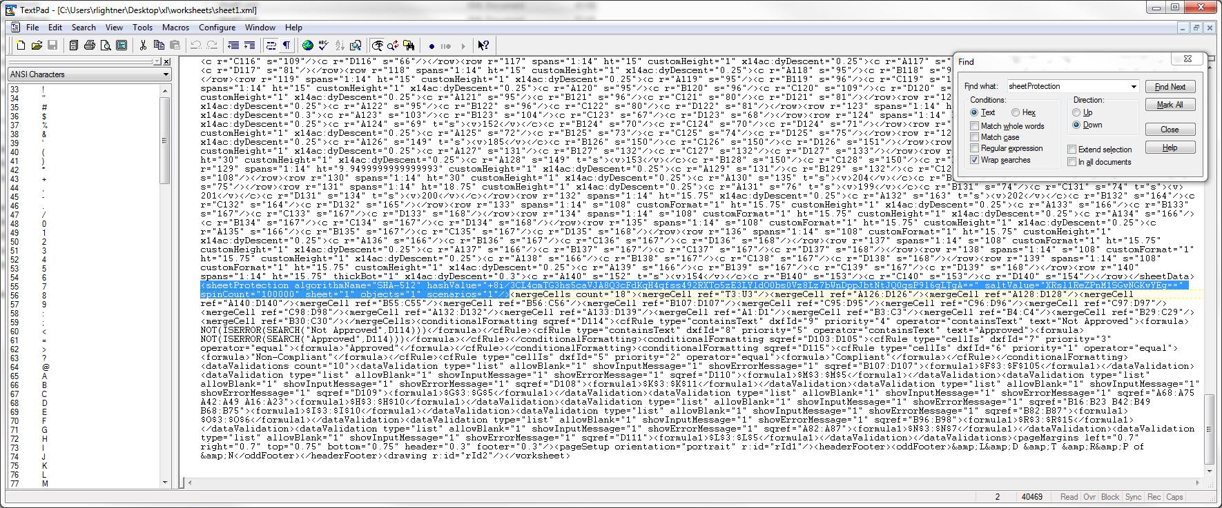 unprotect xml file